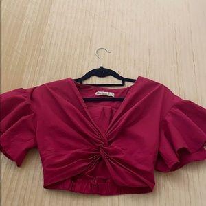 Fuchsia Zara Crop Top Ruffled Sleeve